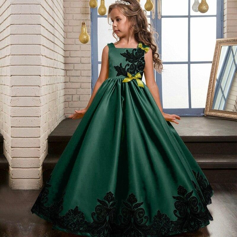 Высокое качество От 3 до 14 лет дети Обувь для девочек Свадебные Вышивка  платье для девочек платье принцессы праздничное платье торжественное платье  ... c6a7775ee04ae