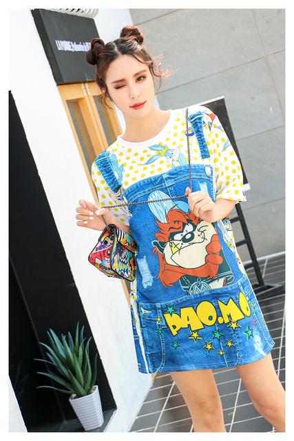 Melinda Estilo 2017 nueva moda de las mujeres camiseta de manga corta carta de impresión del cartón patrón top envío gratis