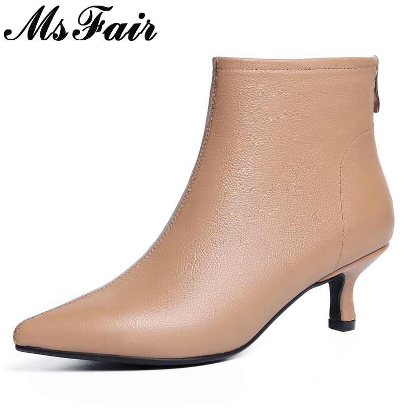 MsFair Pointed Toe High Heel Women Boots Genuine Leather Metal Zipper Ankle Boots Women Shoes Winter Short Plush Ankle Boots women ankle boots pu leather short plush 7cm high thick block heel square toe white zipper winter black casual office lady boots