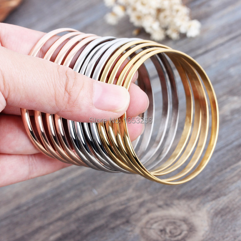 12pcsset  80g Weight Stainless Steel Silver  Gold Rose Gold Fashion Bracelet Cuff  Bangle Friend Gift Jewelry 3.8mm 55mm
