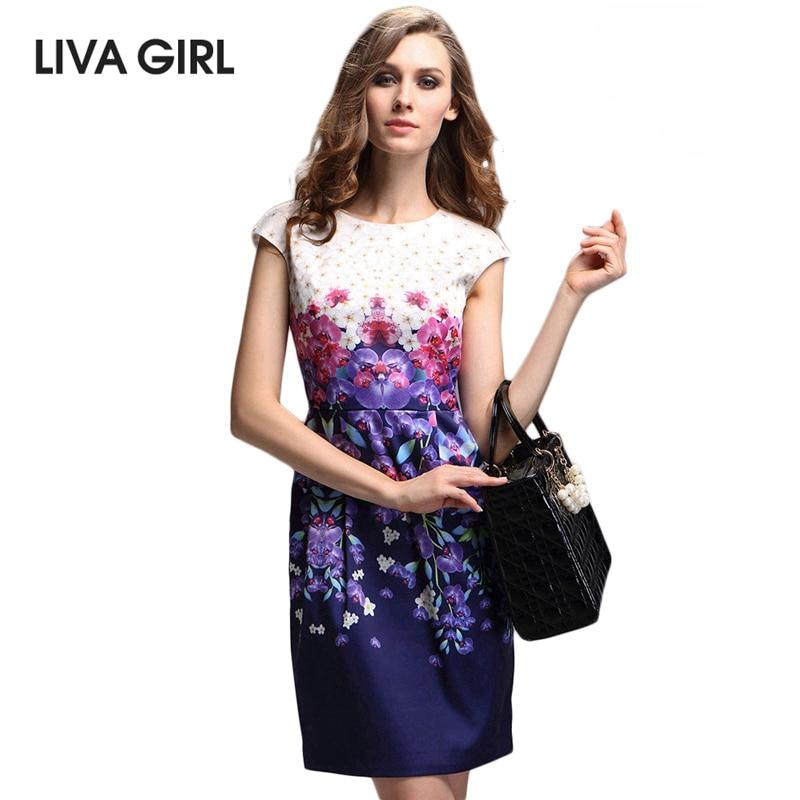 Buy Cheap LIVA GIRL Brand Women Summer Dress High Quality Floral Print Short Sleeve Dress Casual Slim Women's Elegant Fashion Dresses