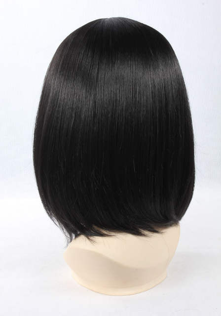Quality Thick 37cm Short Straight Black Wig With Bang Anime