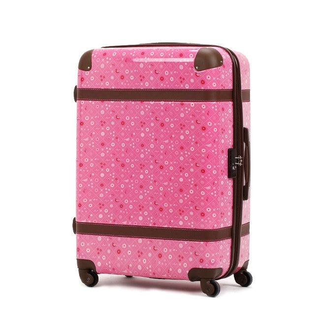 "New Women Fashion Printed Luggage Girls Vintage Travel Suitcase Female Universal Wheels Trolley Luggage Bag 20"" 24"" 28"""