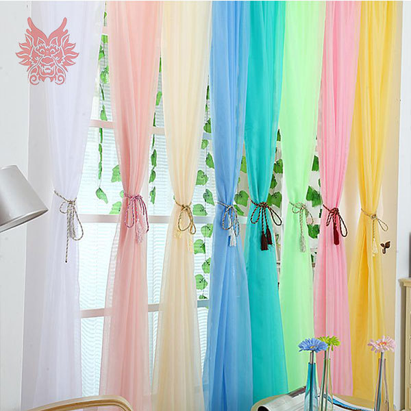 2015New Fashion Finished Window Screening Living Room Multi Color Solid  Sheer Curtain,tulle Curtain