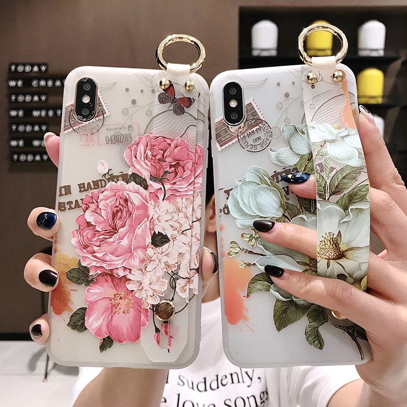 Wrist Strap Soft TPU Phone <font><b>Case</b></font> for Samsung Galaxy S10 Lite S10e S8 S9 Plus <font><b>Note</b></font> 8 <font><b>9</b></font> <font><b>Cases</b></font> Flowers Floral Bird <font><b>Ring</b></font> Holder Cover image