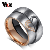 Vonx Jewelry His Hers Love Heart Wedding Promise Ring Set Stainless Steel Couples Engagement Bands For