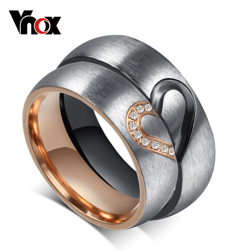 Vonx 1Pair His & Hers Love Heart Wedding Promise Rings Set Stainless Steel Couples Engagement Bands for Men and Woman