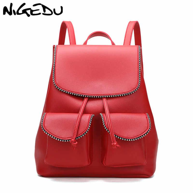 0e4c62c4c589 Модные заклепки Для женщин рюкзак для девочек-подростков Искусственная кожа  женщины школьный Повседневное дорожные сумки