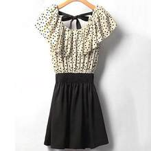 Women's Sweet Polka Dots Lotus Leaf Ruffle Summer Mini Dress with Belt(China)