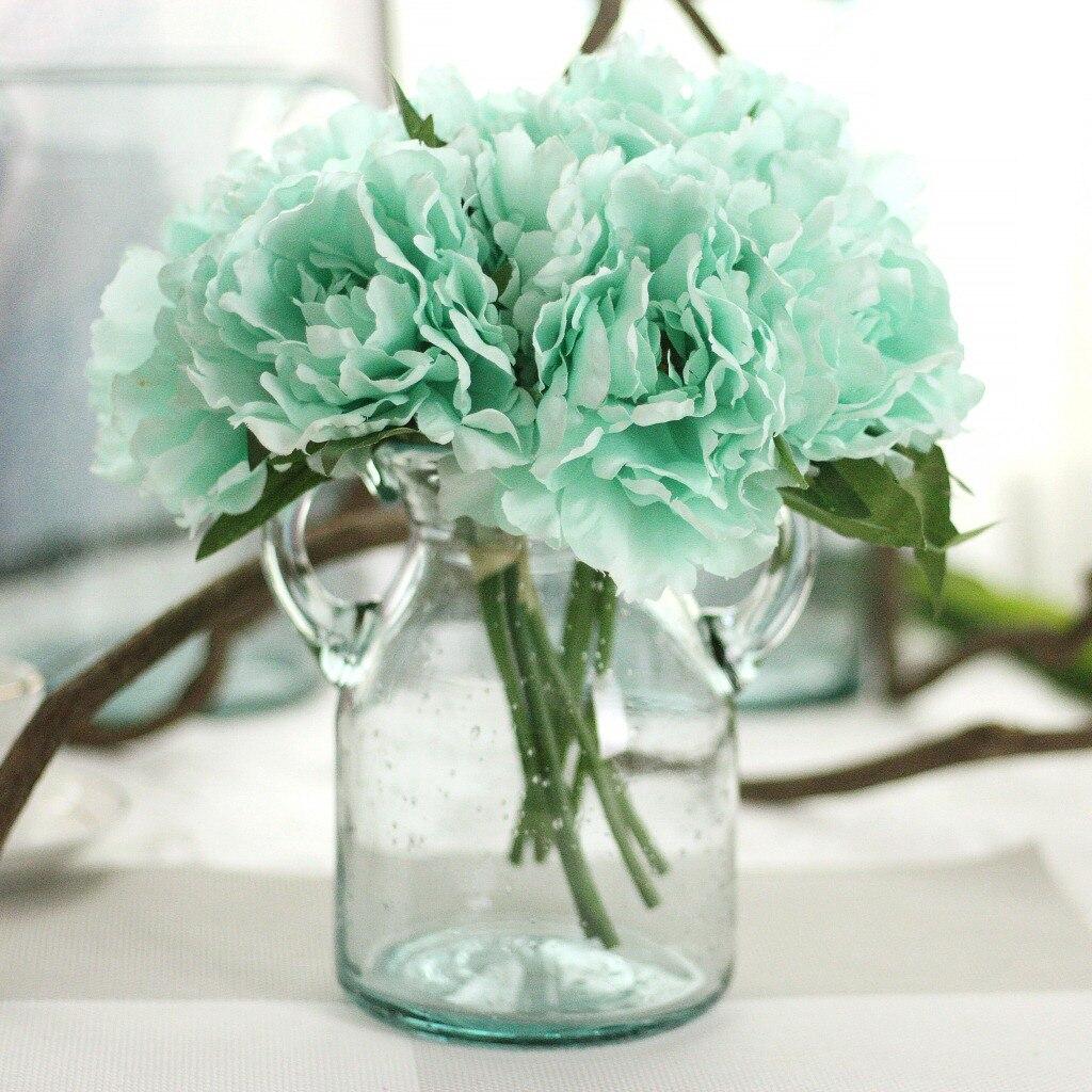 1 Bouquet 5 Heads Tiffany Blue Peony Flower Artificial Silk Fake