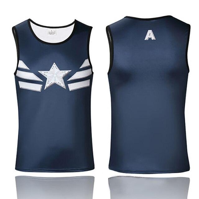 4cc2c270679778 Marvel Super Heroes Avengers Captain America Batman T Shirt Tight  Compression Men Sport Tank Tops Sleeveless Fitness shirt vest
