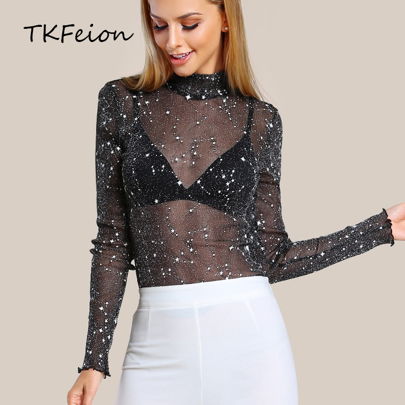 <font><b>Ladies</b></font> Mesh Blouse Glitter <font><b>2018</b></font> Summer Women <font><b>Sexy</b></font> Tops Long Sleeve Black Hollow Out Fashion <font><b>Star</b></font> Print Female Elegant Slim Shirt image