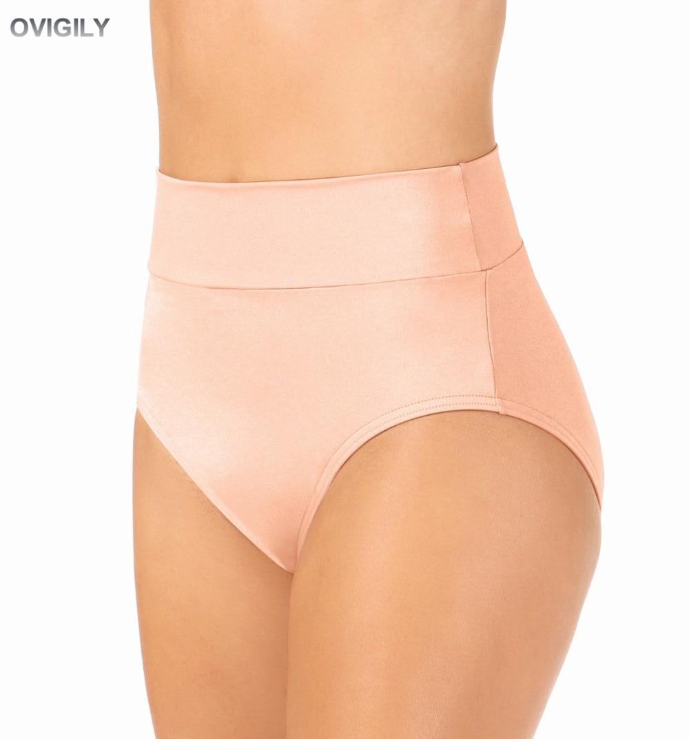 OVIGILY Adult Nylon Lycra High Waist Performance Briefs Underwear Jazz Women Black Spandex Dance Bottoms Sport Dancer Underpants
