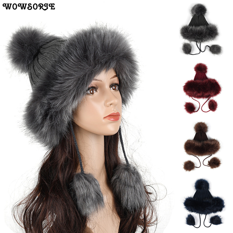 2018 Fashion Autumn Winter Women Hat   Skullies     Beanies   Pompom Casual Girls High Quality Solid Grey White Red Hats