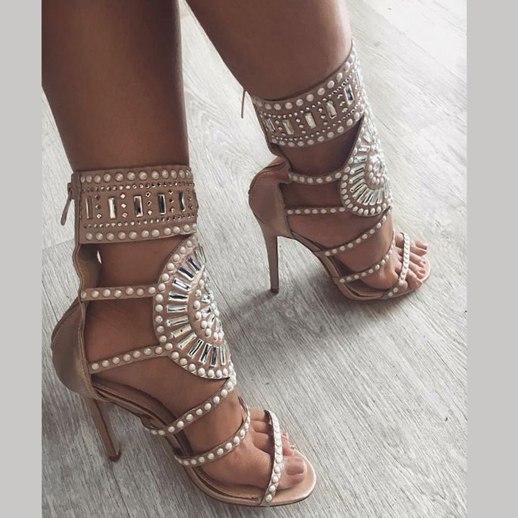 hot selling white pearls embellished high heel sandal open toe cutouts gladiator thin heels shoe Rome Style sexy woman shoe 2017 summer woman slipper white pearls beaded flat shoes sexy open toe cutouts gladiator sandal outside beach shoes flats