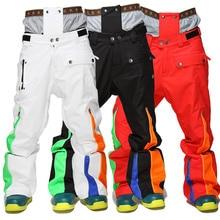 Зимние мужские лыжные штаны плотные теплые сноубордические брюки горнолыжные брюки с поясом Открытый спортивные брюки Водонепроницаемый Для мужчин лыжные штаны
