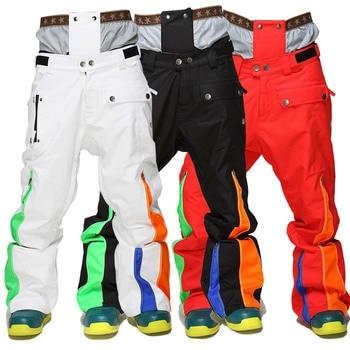 Winte Male Ski Pants Thicken Warm Snowboard Pants Ski Trousers with Belt Outdoor Sports Trousers Waterproof Men Ski Pants фото