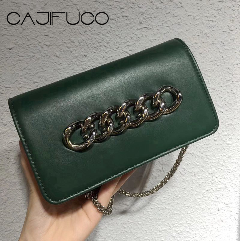 CAJIFUCO Vintage Women Metal Chain Flap Bag Genuine Leather Crossbody Bag Rock Chain Strap Bag Bolsa Feminina Sac De PlageCAJIFUCO Vintage Women Metal Chain Flap Bag Genuine Leather Crossbody Bag Rock Chain Strap Bag Bolsa Feminina Sac De Plage