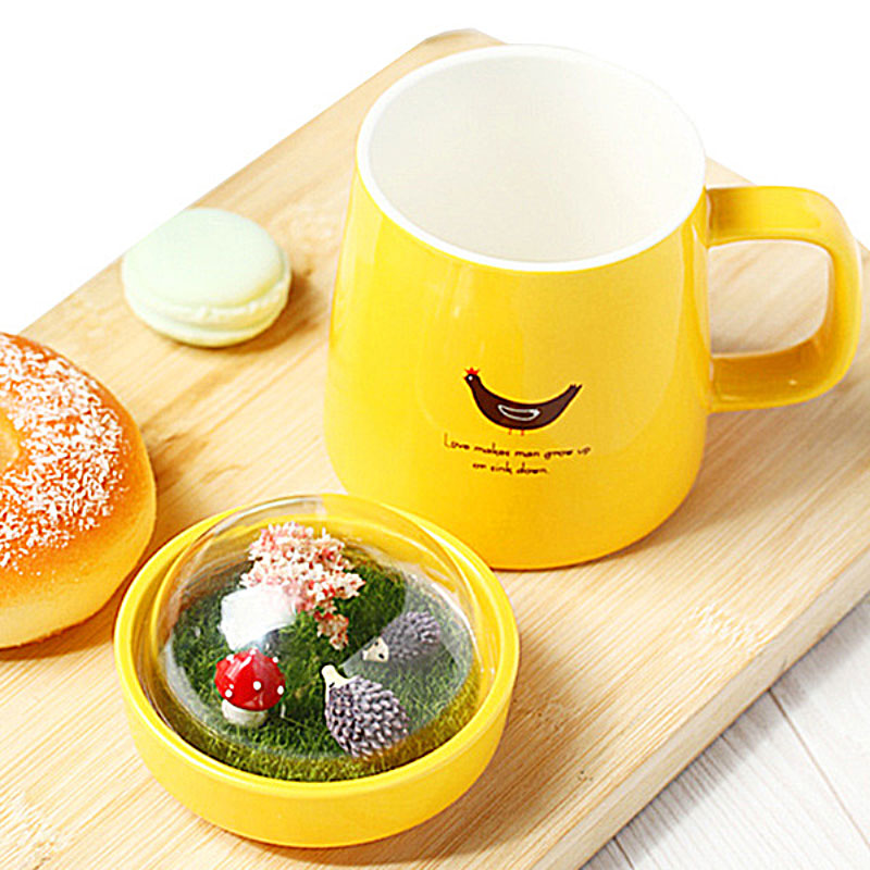 Colorful Ceramic Morning Mug with Microcosmic Forest Style Lid Lovely Mugs for Coffee Milk Tea Drinks Unique Gift SH238