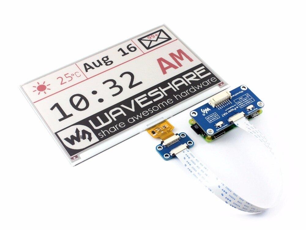 Waveshare 640x384, 7.5 polegadas e-ink display hat para raspberry pi 2b/3b/zero wthree-cor: vermelho, preto branco, interface spi, sem luz de fundo