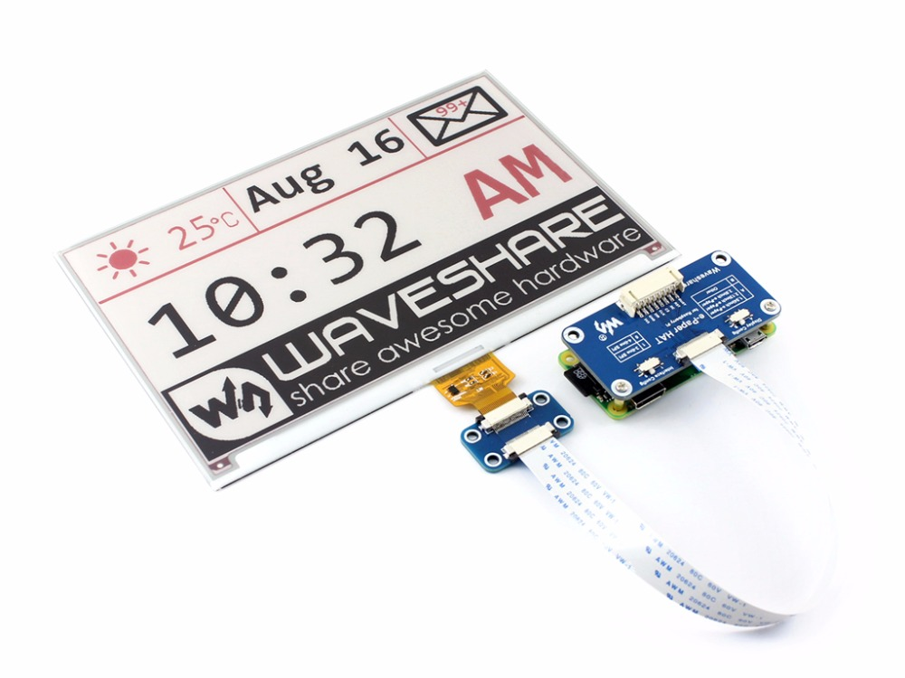 Waveshare 800*480,7.5inch E-Ink Display HAT For Raspberry Pi 2B/3B/Zero WThree-color:Red,Black White,SPI Interface,No Backlight