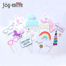 Unicorn Party Photo Booth Props Glitter Rainbow Unicornio Birthday Party Decoration Baby Shower Eenhoorn Party Favor Supplies