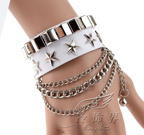 New Design Women And Men Braided Punk Style Genuine Leather Bracelet & Bangle With Multi Alloy Rivet Wide Cuff Pulseras