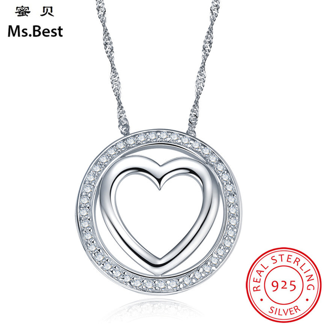Round big pendant fine solid 925 sterling silver necklace pendants round big pendant fine solid 925 sterling silver necklace pendants for women heart love designer jewelry aloadofball Image collections