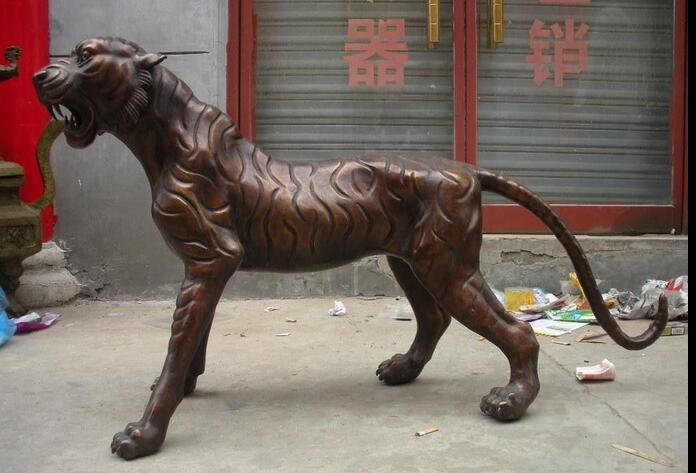 Chine Rare Énorme Bronze Rouge tailler Féroce Tigre De Sibérie Statue Animalière