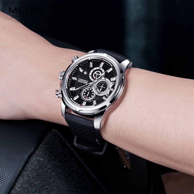 MEGIR армейские спортивные кварцевые часы, мужские наручные часы с хронографом и силиконовым ремешком, роскошные часы от ведущего бренда Relogios Mascuoino, часы, серебро 2101