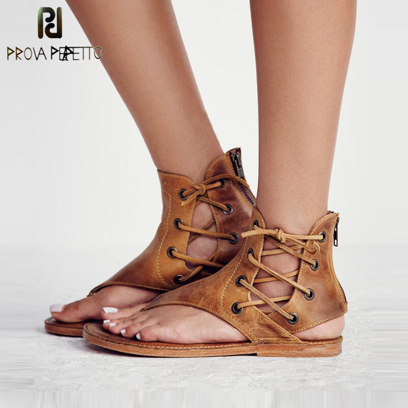 a530fe5241c5 Prova Perfetto Women Fashion Thong Sandals Roman Style Lace Up Flip Flop  Summer Beach Sandal Real Leather big size 40