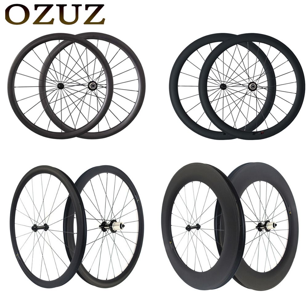 Free Customs Factory Sales 700C Carbon Wheelset Tubular 38mm 50mm 60mm 88mm Depth Carbon Bicycle Wheels Clincher Road Bike Wheel velosa supreme 50 bike carbon wheelset 60mm clincher tubular light weight 700c road bike wheel 1380g