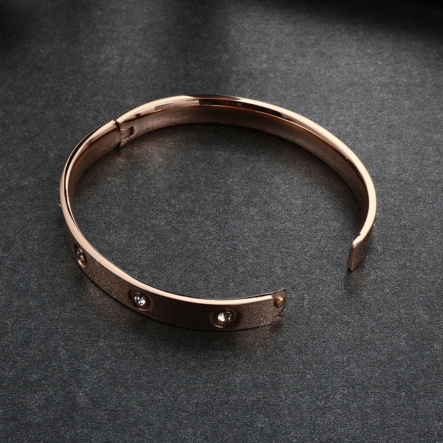 Trendy Steel Bangle with Crystals