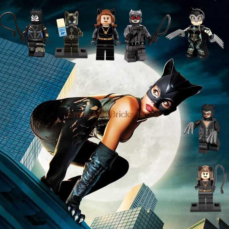 Catwoman Batman DC Movie Super Heroes Block Catwoman Batman Aciton Figures DIY Mini Dolls Building Blocks Toys For Children