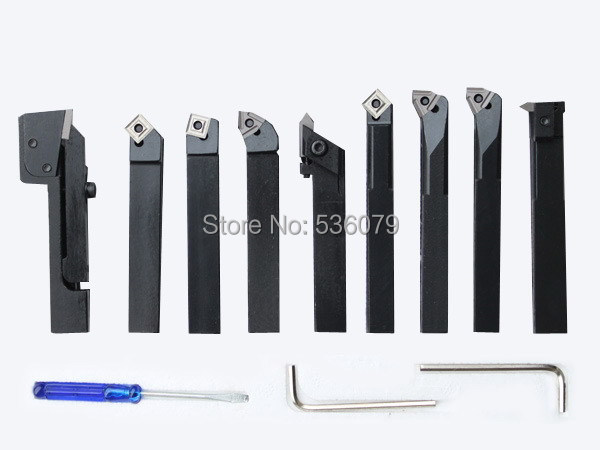 16mm 9pcs set indexable carbide turnnig tools lathe lathe cutting tools set with inserts for mini