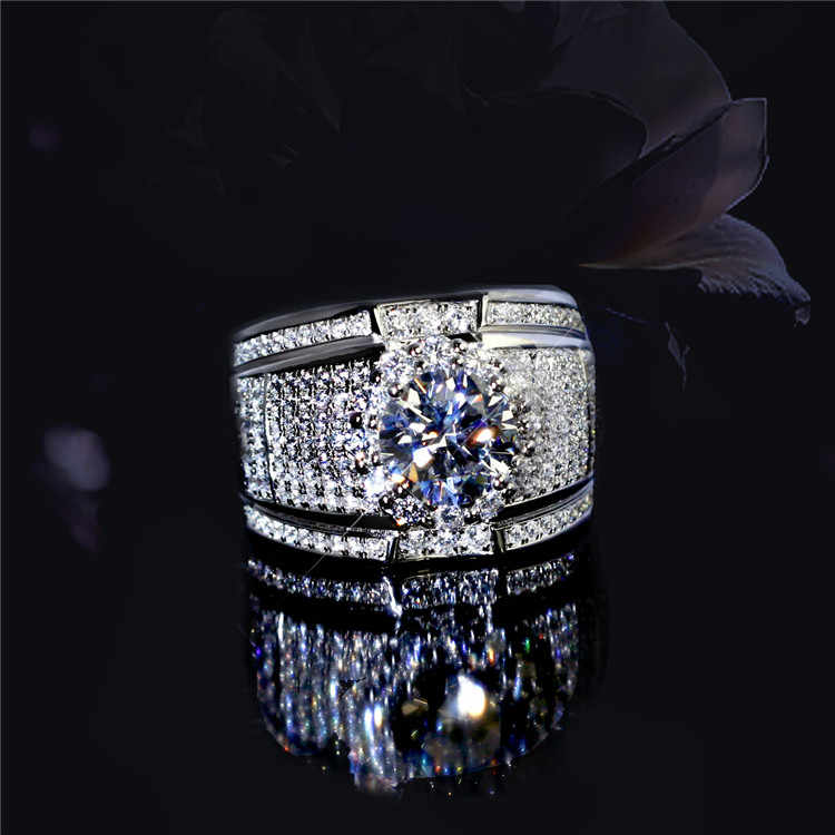 Luxury fashion white zircon Ring Non-allergenic for Men Jewelry Wedding engagement party ring high quality Men's rings