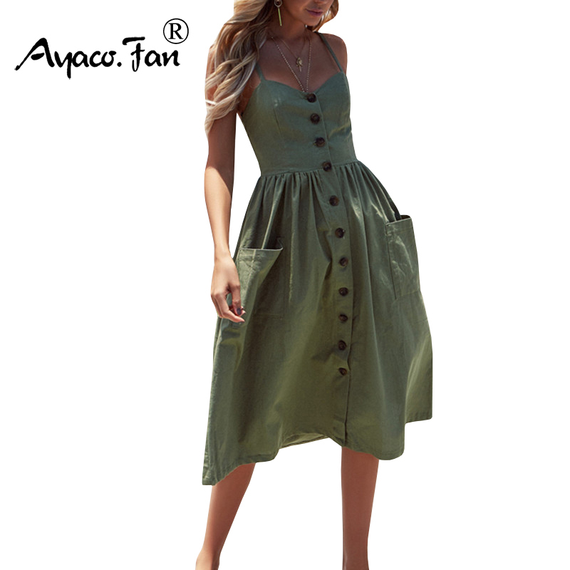 Women's Sexy Summer Dresses 2019 Boho Plus XXXL Backless Sleeveless Button Striped Solid Midi Dress Slip Sundress With Pockets