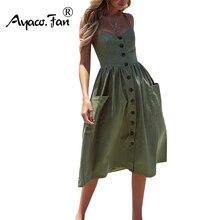 Women's Sexy Summer Dresses 2019 Boho Plus XXXL Backless Sleeveless Button Striped Solid Midi Dress Slip Sundress With Pockets