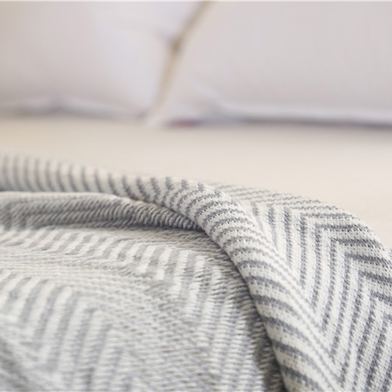 Striped Knitted Blankets for beds Cotton Grey Tassel Plaids Sofa ...