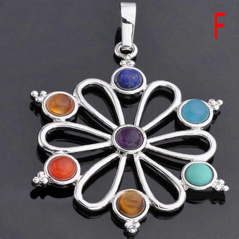 6 Style wisior czakry Reiki 7 kamienie czakry kamień naturalny wisiorek pół kamienie Choker naszyjnik dla kobiet biżuteria