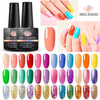 MEET ACROSS Gel Nail Polish LED UV Gel For Nail Soak Off Nails Gel Lacquer Glitter 8ML Nude Hybrid Nail Polish Set Gel Lak