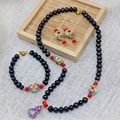 Ethnic style black natural freshwater pearl beads 7-8mm necklace earrings bracelets gold plated cloisonne diy jewelry set B3025