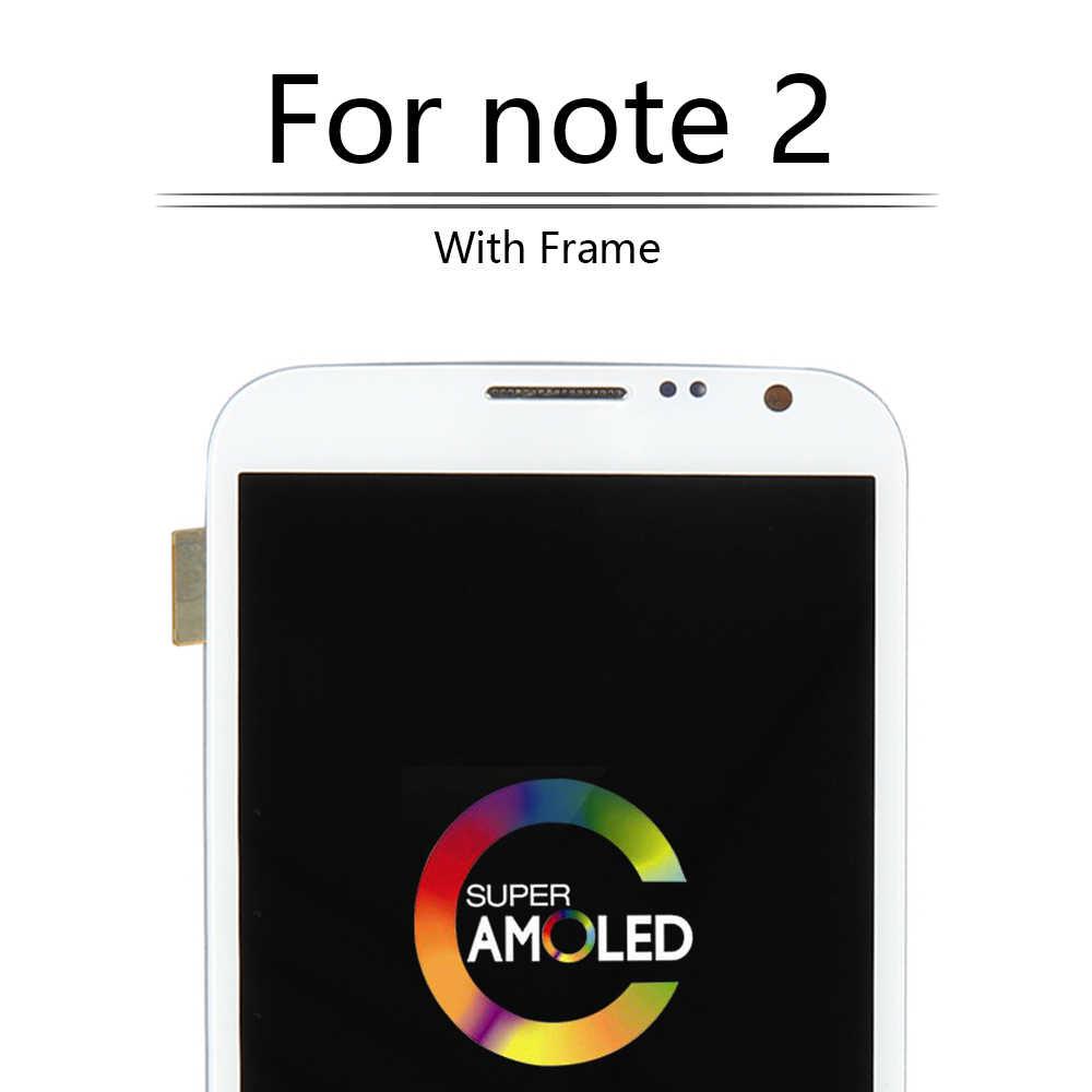 """AMOLED 5.5 """"Dành Cho SAMSUNG Galaxy Note 2 N7100 Màn Hình LCD Hiển Thị Màn Hình Cảm Ứng với Khung Bộ Số Hóa Dành Cho SAMSUNG Note 2 màn hình hiển thị N7105 i317 @"""