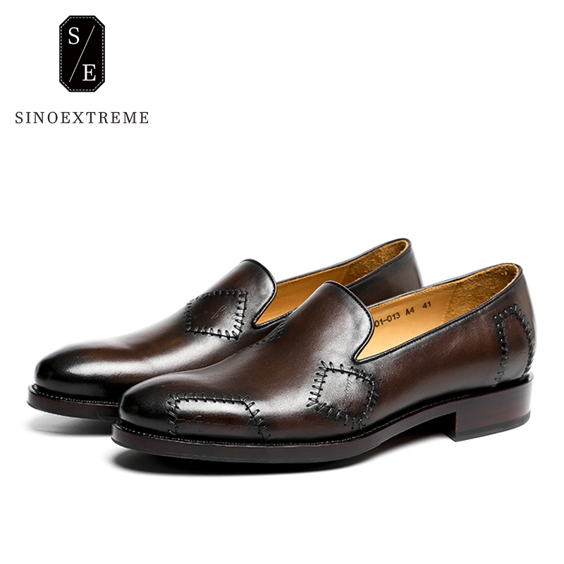 SINOEXTREME 2018 Handmade Fashion Men Loafer Shoes Full Leather Men Loafers Moccasins Slip On Men's Flats Male Shoes handmade mens dress shoes italian leather studded flats loafer shoes men casual shoes fashion spiked loafer 35 46