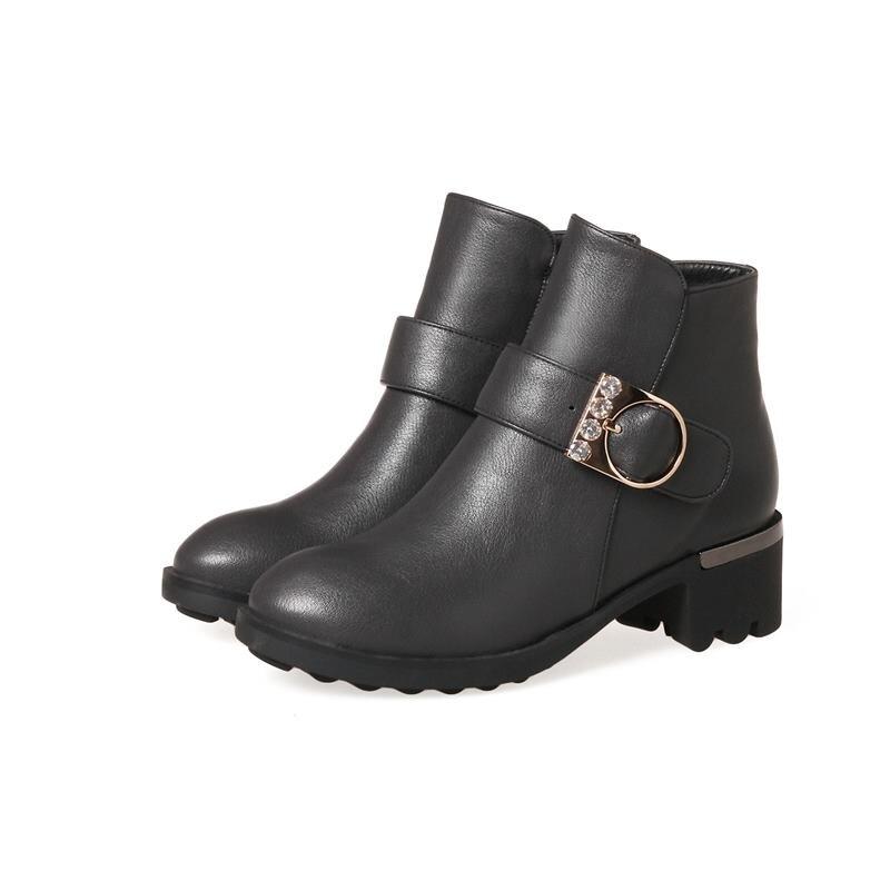 Cheville Black Automne 43 grey Qualité Femme Plus Bottes Smeeroon red De Taille Chaude Femmes Vente Pour Top Chaussures Zipper Hiver La tsQdrhCx