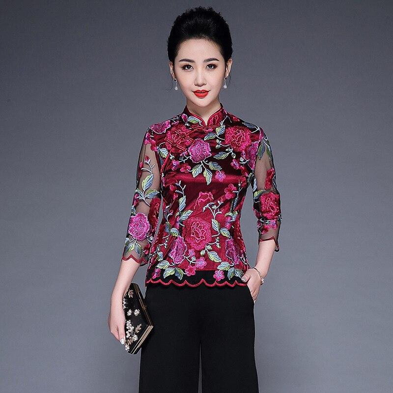 Grande taille femmes hauts et chemisiers 2019 printemps nouveau moyen et vieux vieilli amélioré Cheongsam Tang costume brodé mère hauts L-4XL