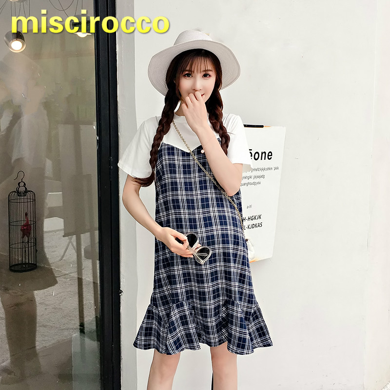 2018 Summer New Two False Pieces Maternity Plaid Dress Holiday Cotton Pregnant Women Dress Trumpet Omfortably Breathable
