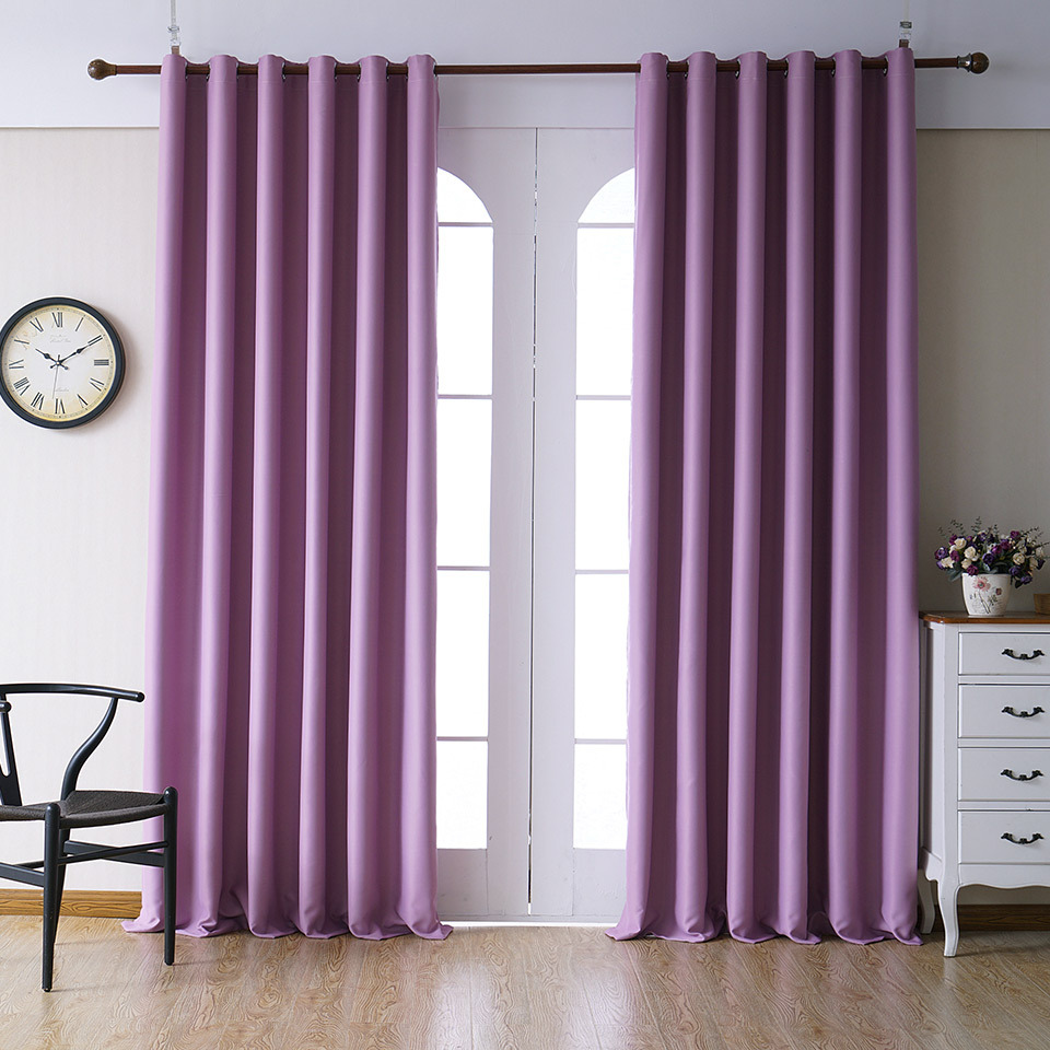 Purple Color Polyester Solid Curtains For Living Room Navy