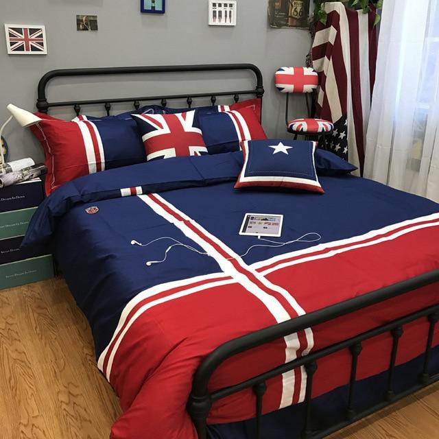 Copripiumino Matrimoniale Bandiera Inglese.Us 98 0 Bandiera Moda 100 Insiemi Dell Assestamento Del Cotone Stile Britannico Europeo Consolatore Biancheria Da Letto Copriletto Foglio Di