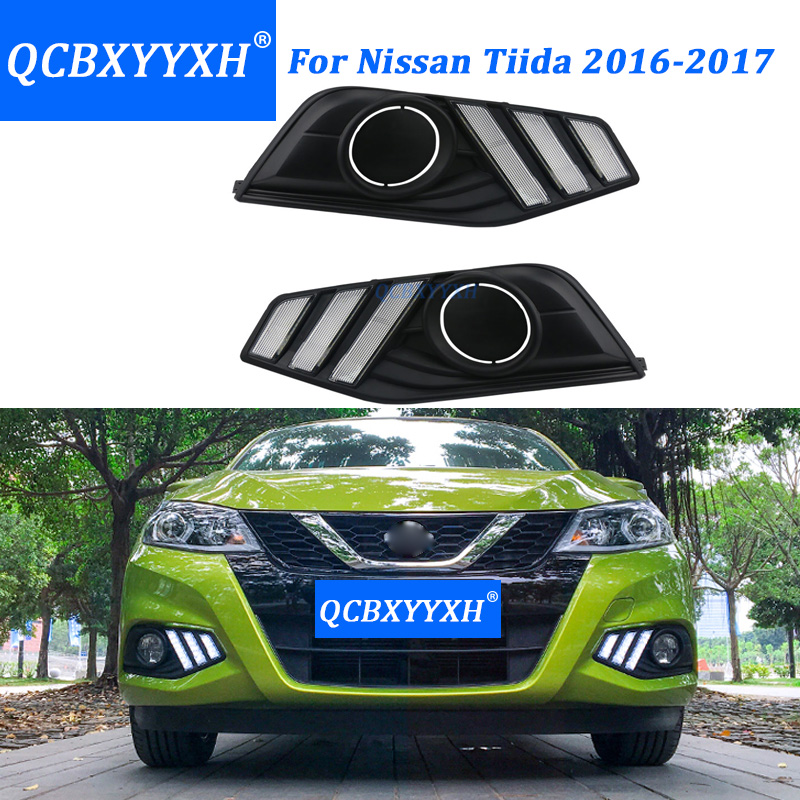 QCBXYYXH Car- Styling For Nissan Tiida 2016 2017 LED DRL LED With Fog Lamps Holes Daytime Running Light High Brightness LED DRL for nissan primera estate wp12 2002 2015 car styling led light emitting diodes drl fog lamps
